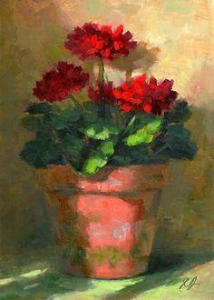 Linda's Witness in Art: Geraniums in Light oil 5x7