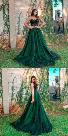 Prom Dresses Ball Gown, A-Line Spaghetti Straps Dark Green Long Prom Dress with Lace, from the ever-popular high-low prom dresses, to fun and flirty short prom dresses and elegant long prom gowns. Dark Green Prom Dresses, Cute Prom Dresses, Long Prom Gowns, Prom Outfits, Green Dress, Homecoming Dresses, Pretty Dresses, Beautiful Dresses, Evening Dresses