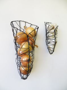 Onion and Garlic Wall Basket Set by CharestStudios on Etsy, $54.00