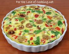 For the Love of Cooking » Frittata with Jalapeno Chicken Sausage, Spinach, Roasted Bell Peppers, and Feta AND Giveaway Winner
