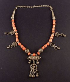 Old bedouin coral and silver Yemen necklace, Middle East jewelry, silver hirz, Muslim amulet