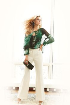Pair a chiffon top with winter white pants for a chic look. #JenniferLopez #newarrivals #Kohls