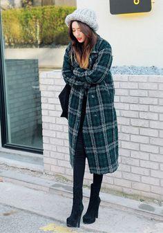 Basic Chic Check Long Coat