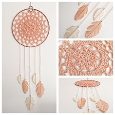 Pyssel o fix: Fånga drömmarna, dreamcatcher and handmade feathers from yarn. Crochet Home Decor, Diy Crochet, Crochet Crafts, Yarn Crafts, Crochet Projects, Crochet Feathers Free Pattern, Dream Catcher Patterns, Lace Bunting, Wreaths