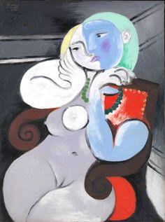 Marie-Thérèse Walter muze van Pablo Picasso. Titel van het schilderij 'Femme nue dans un fauteil rouge' uit 1932. Volgens mij staat Picasso (de blauwe figuur) ook op het schilderij.
