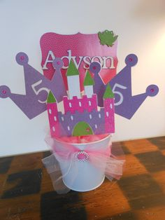 Princess Birthday-Pink and Purple Princess Castle Centerpiece. via Etsy.