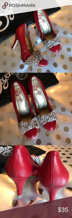 """Seychelles """"Pin Up"""" Heels Adorable red leather with canvas black and white polka dot bows! Heel is 3 1/2"""" - worn twice but still in gorgeous condition. Complete with box and dust bag. Seychelles Shoes Heels"""