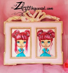 ZELYSS originals - BLYTHE series: 'Lollipop Twins' | ZELYSS.bigcartel.com Princess Peach, Disney Princess, Special Birthday, Oil On Canvas, Twins, Hand Painted, The Originals, Disney Characters, Artist
