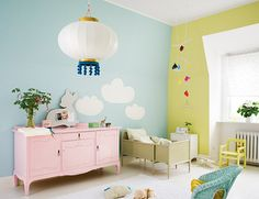 i love this for a kids room.  @Laura Jayson Smith i like this... maybe we will have to find a room i can do two colors like this.  i dont much like the yellow color but maybe my bedroom could be two fun colors.....hmmm...