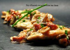 Pollo in salsa cremosa di funghi e pancetta
