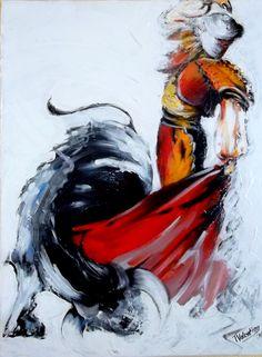 """Abstract schilderij """"Corrida"""", acrylverf op canvas 50x40cm"""