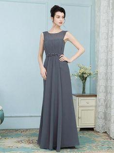 49e8520de1f9 Grey Mother of the Bride Dresses,Chiffon Mother Dress,Long Mother Dres -  Wishingdress