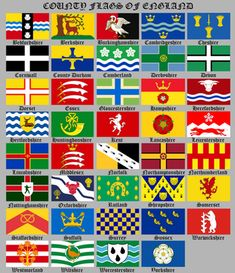 The county flags of England : vexillology Tall Ship Cruises, County Flags, Uk Area, Map Of Britain, Uk Flag, Herefordshire, Wall Decal Sticker, British History, Coat Of Arms
