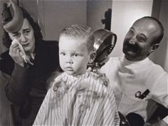 Vintage Glassic Photography Of Boy Getting First Haircut and Mother Crying B&W