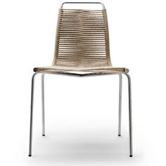 The Dining Chair is an early example of designer Poul Kjærholm's unique ability to bring steel and organic materials together for Carl Hansen.