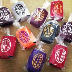HS Grad Gift: Monogrammed Koozies in College Colors