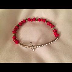 Super cute Red Cross bracelet Stretchy, brand new cross bracelet Jewelry Bracelets