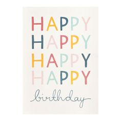 Greeting Card Happy Birthday, typography, contemporary, design, type, lettering, colour
