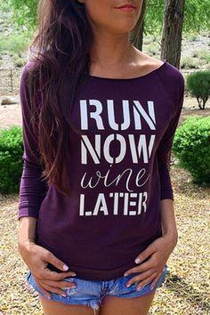 Sexy Scoop Neck Long Sleeve Letter Print Women's T-Shirt