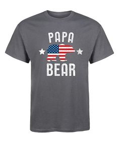 Not this font... Charcoal 'Papa Bear' Patriotic Tee - Men's Regular