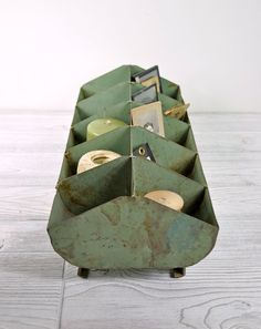 Vintage Metal Storage Bin / Industrial Storage