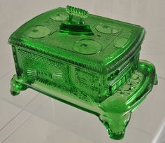 Green Pattern Glass EAPG Stove Candy Box, $59.99