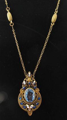 Art Deco Czech Sapphire Blue Glass & Enamel Gold Filigree Necklace