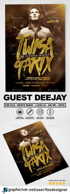 Guest Deejay Flyer Template PSD - Download: https://graphicriver.net/item/guest-deejay-v2-flyer/21688694?ref=ksioks