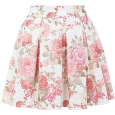 Miss Selfridge Floral Print Skater Skirt (200 BRL) ❤ liked on Polyvore featuring skirts, bottoms, saias, faldas, nude, flared skirt, pink circle skirt, floral print skirt, miss selfridge and flared floral skirt