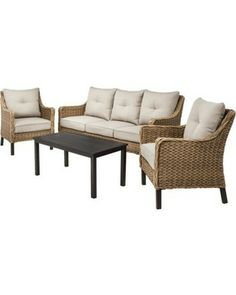 Yotrio Perry 4-Piece Seagrass Wicker Patio Conversation Furniture Set from Target | BHG.com Shop