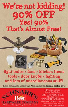 90% off selected items at our Webster Groves store - while supplies last!