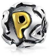 Bling Jewelry Initial Letter P Alphabet Bead Charm Gold Plated .925 Sterling Silver.