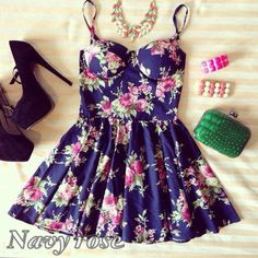 Navy Rose Bustier Dress ($24) ❤ liked on Polyvore featuring dresses, outfits, pictures, conjuntos, rosette dress, rosebud dresses, rose dress, navy blue dress and navy dress