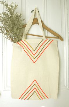 Points and Stripes  Hand Painted Cotton Tote Bag by twamies, $20.00