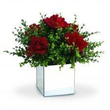 Arranjo de Flores Artificiais Rosas no Vaso Espelhado 30 cm