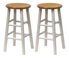 White Bar Stools Wooden Counter Chairs Set Of 2 Natural Wood Seats 24 Inch Tall #Winsome