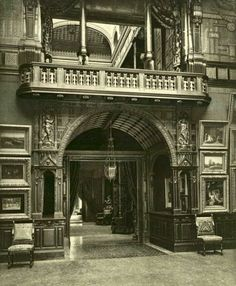 The Gilded Age NYC mansion of American socialite, William H. Vanderbilt, originally located at 640 Fifth Avenue. Pictured, the ornately furnished gallery which leads from the main entrance of the residence, Beautiful Architecture, Beautiful Buildings, Architecture Details, Victorian Architecture, Classical Architecture, Architecture Art, Beautiful Homes, Victorian Interiors, Victorian Homes
