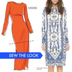 Keep your eye out for placement print fabrics, then turn them into a simple bout stunning dress. Sew the look with McCall's M6886 dress pattern.