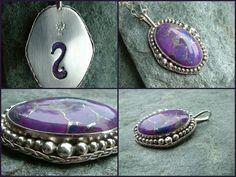 Custom ordered.Pendant purple turquoise & sterling and fine silver.