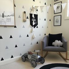 Perfect use of our Large Triangles in this fabulous bedroom by Nursery Stickers, Kids Wall Decals, Nursery Wall Decals, Nursery Room Decor, Bedroom Wall, Bedroom Artwork, Bedroom Ideas, Wall Stickers Triangles, Decoration Stickers