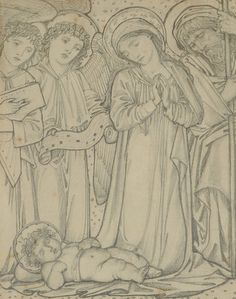 The Holy Family, c.1874 (chalk on paper) Wall Art & Canvas Prints by Sir Edward Coley Burne-Jones