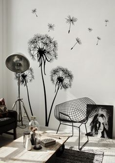 Atelier White Walls Black Wall Tattoos Dandelions Be .- Atelier-weiße-Wände-schwarze-Wandtattoos-Löwenzähne bemalen Coole Wand… Atelier-white-walls-black-wall stickers-dandelions paint cool wall decals, suitable for any room - Living Room Paint, Living Rooms, Living Room Murals, Home And Deco, Minimalist Decor, Minimalist Interior, Minimalist Living, Minimalist Bedroom, Modern Minimalist