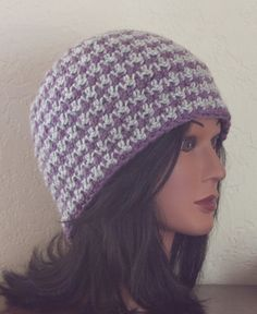 Grey and Purple Houndstooth Ski Beanie....Reversible!  $24.00