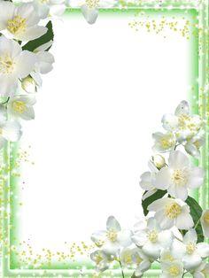 Transparent Green Flowers Frame
