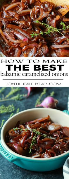 Balsamic Caramelized Onions is part of food-recipes - How to make the BEST Balsamic Caramelized Onions using only 5 ingredients, these are mind blowingly good! Onion Recipes, Vegetable Recipes, Vegetarian Recipes, Cooking Recipes, Healthy Recipes, Chicken Recipes, Balsamic Onions, Balsamic Chicken, Balsamic Glaze