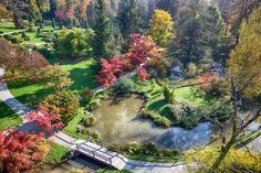 Aerial autumn view of the Volcji Potok Arboretum, the most visited botanical garden in Slovenia