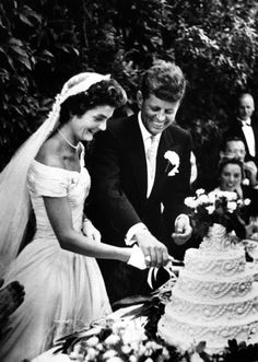 Mr. & Mrs. John F. Kennedy at their wedding reception held at Hammersmith Farm, the home of Jackie's mother and stepfather in Newport, Rhode Island on September 12, 1953