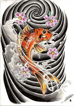 Japanese Water Tattoo Designs | koi fish tattoo design japanese koi tattoo and tribal tattoo by ...