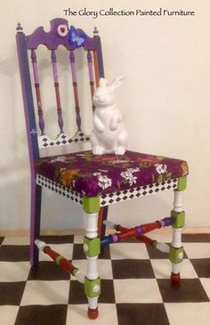 Alice through the looking glass. Hand painted and upholstered chair. by The Glory Collection Painted Furniture. https://www.facebook.com/media/set/?set=a.862470853813492.1073742054.501388179921763&type=3