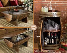 Wine Barrel Table and Bar